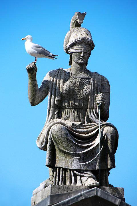 Justitia, Court, Blind, Seagull, Statue, Goddess