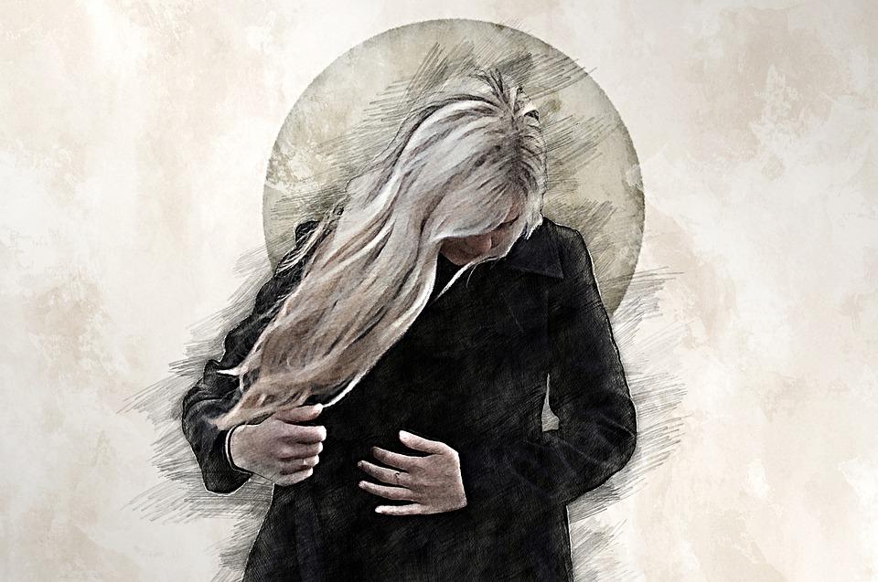 Dessin Numérique, Femmes, Tristesse, En Détresse
