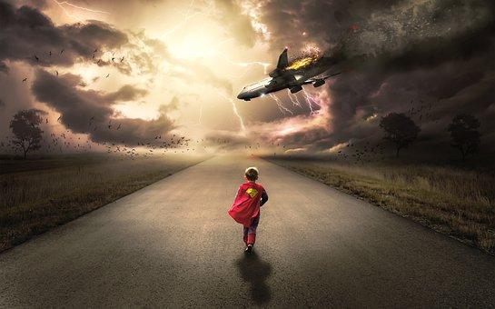少年, 子, 子ども, 実行している, スーパー ヒーロー, スーパーマン