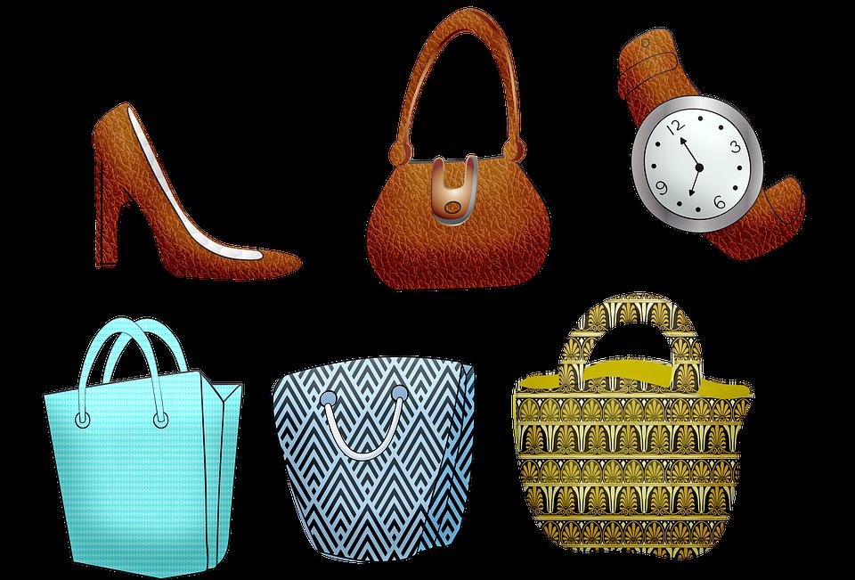 ショッピング バッグ, 財布, 高いヒールの靴, 時計, 革, ショッピング, バッグ, ファッション