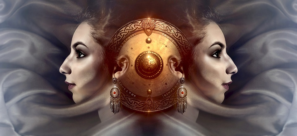 ファンタジー, 肖像画, 対称, 顔, プロファイル, 女性, シールド, 女の子, シュール, 夢