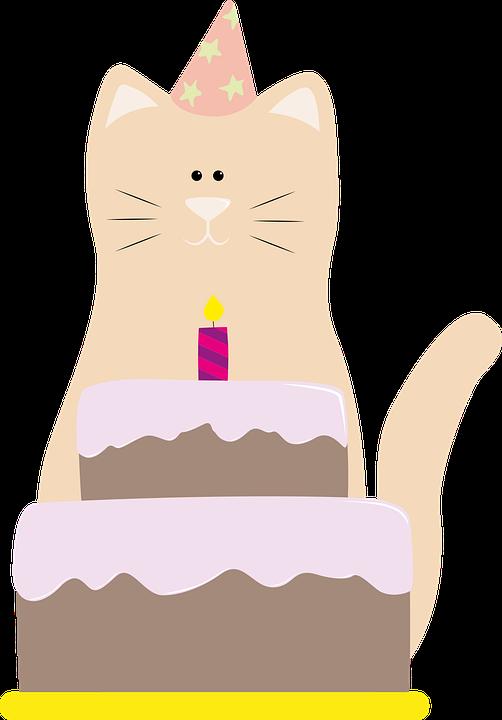Peachy Cat Birthday Cake Free Vector Graphic On Pixabay Funny Birthday Cards Online Necthendildamsfinfo