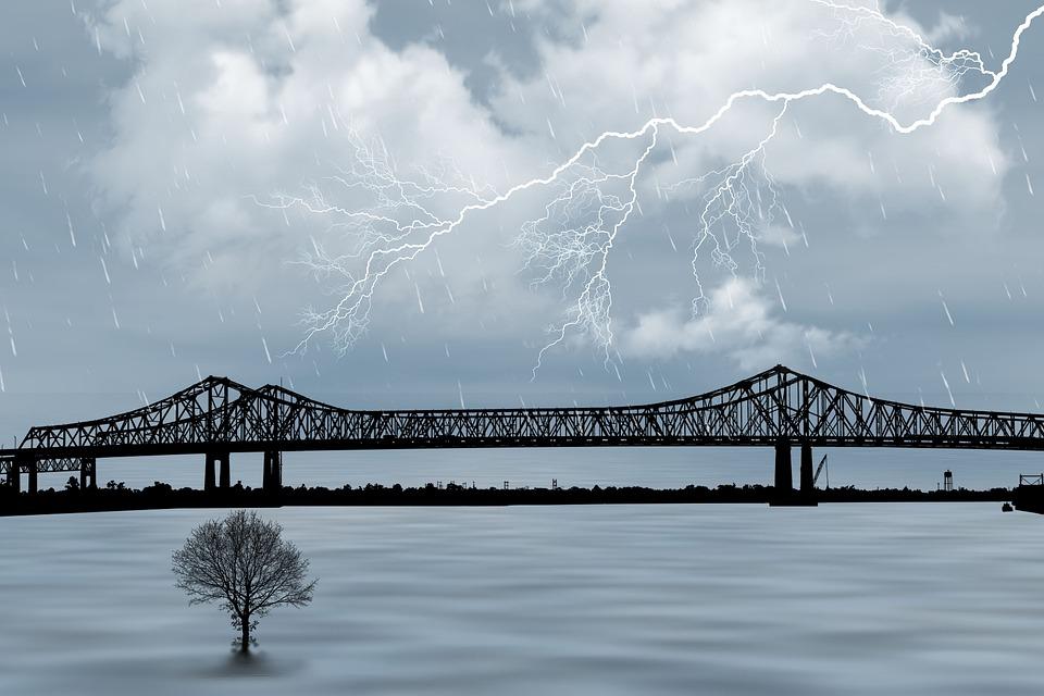 嵐, 天気, 空, 雲, レイ, 自然, 雨, 雷, シルエット