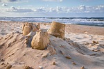 sandburg, piasku, morze