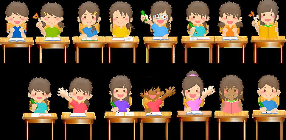 学校の子供たち, デスク, 学校, 教室, 先生, 教育, 学生, 子供, 学習, 勉強, 黒板, 書籍