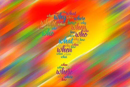 抽象的な, 色, 質問, 誰, どのように, 何, なぜ, どこ, 時, 問題