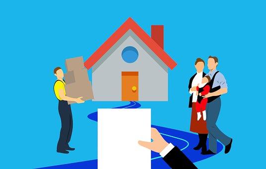 家, 移動, 契約, ボックス, 家族, 住宅ローン, ホーム, 販売, 実