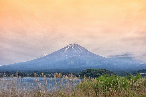 日本, 山, 火山, 富士, 空, 自然, 雲, 水, 風光明媚です, ビュー