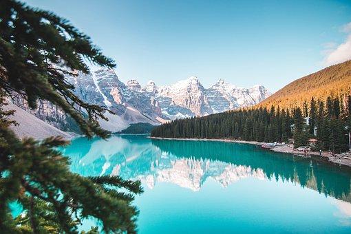 バンフ, アルバータ州, カナダ, 風景, 自然, 水, 山, 森林, 空
