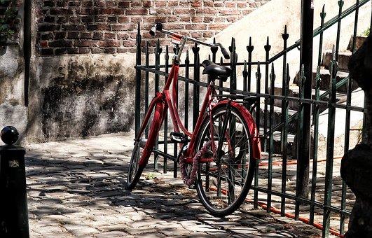 Bike, Red, Wheel, Fence, Alley