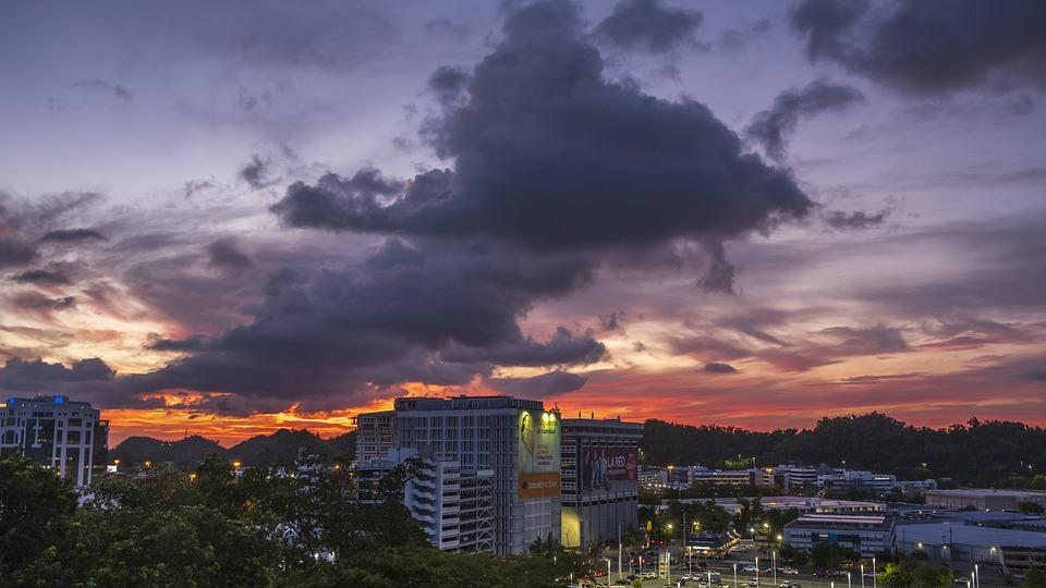 Zachód Słońca, Portoryko, Miejskich, Wieczorem, Słońce