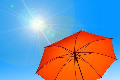 パラソル, 傘, 太陽, 空, 青, ホット, 熱, 気候変動, 気候, 夏