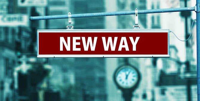 道路, シールド, 新しい, 方法, チャンス, 変更, 注意してください
