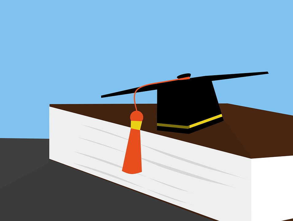 Graduation cap and book illustration