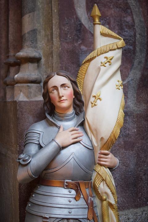 Жанна Д'Арк, Франция, Флаг, Статуя, Церковь, Скульптура