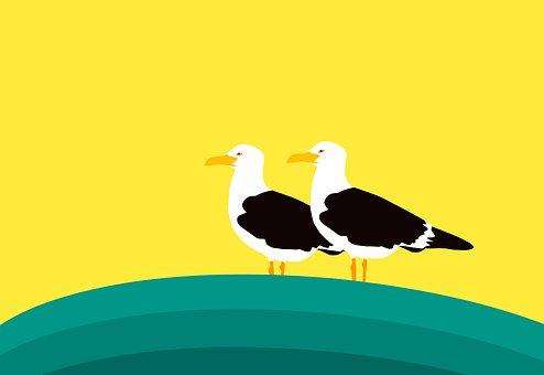 鴎, 鳥, 立っている, 野生動物, 自然, 羽, 翼, 野生, 記号, カモメ