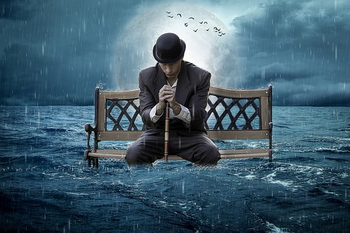 Manipulation, Bench, Ocean, Rain, Man