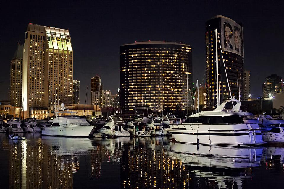 San Diego Skyline, Night, Evening, Glow, Harbor, Marina