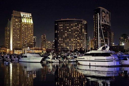 San Diego Skyline, Night, Evening, Glow