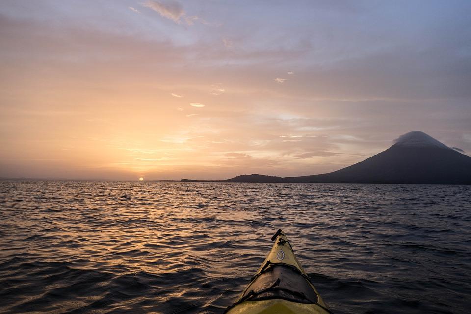 Kayak, Nicaragua, Coucher De Soleil, Lac, Ondes, Nature