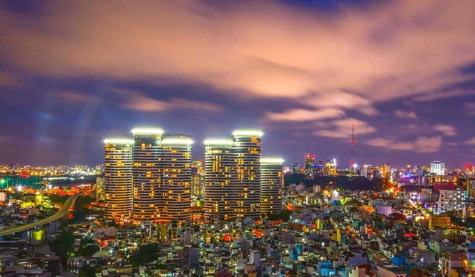 Saigon, Vietnam, Stad, S Nachts, Gebouwen