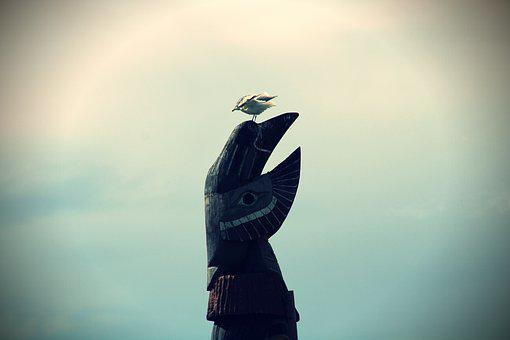 Seagull, Statue, Indians, Canada