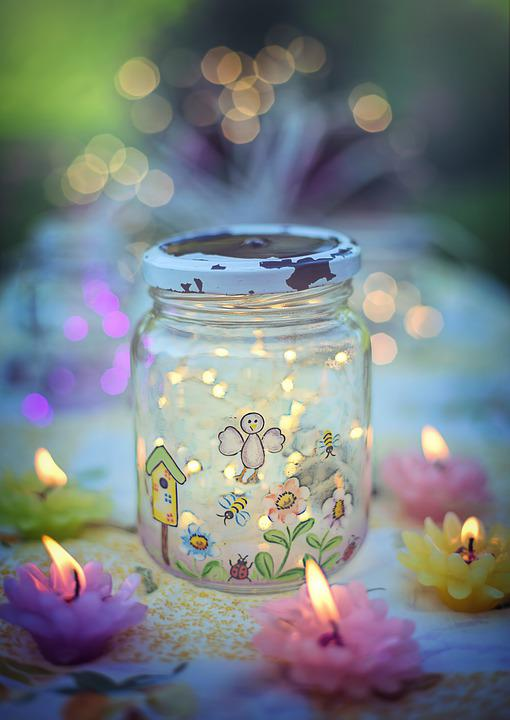 Fireflies In Jar, Magical, Colorful, Summer Evening