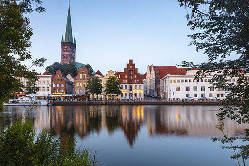 Lübeck, L'Eau, Soirée, Untertrave