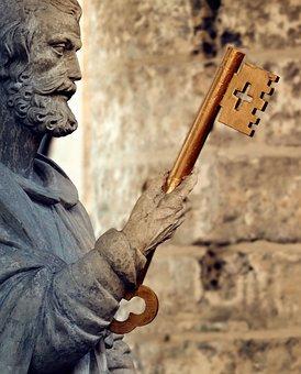 Statue, Church, Holy, Golden Key