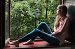 dziewczyna, okno, uroda