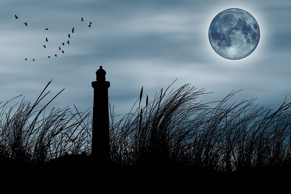 Lighthouse, Fantasy, Full Moon, Environment, Nature