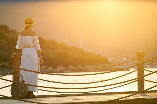 Holiday, Kvinna, Endast, Sunset
