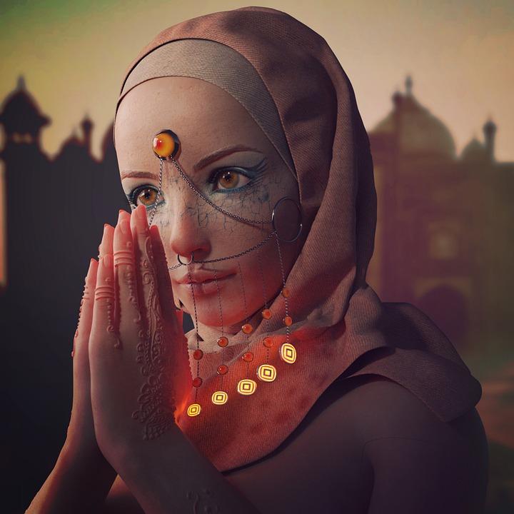 Harem, Indisch, Religion, Gebet, Henna, Piercing
