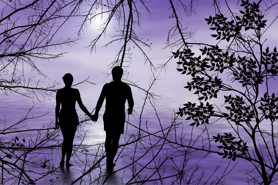 Pôr Do Sol, Casal, Juntos, Amor, Romance, Felicidade