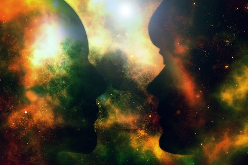 Kopf, Mann, Frau, Silhouette, Bewußtsein