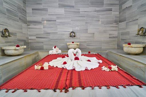 Bathroom, Baths, Towel, Red, White