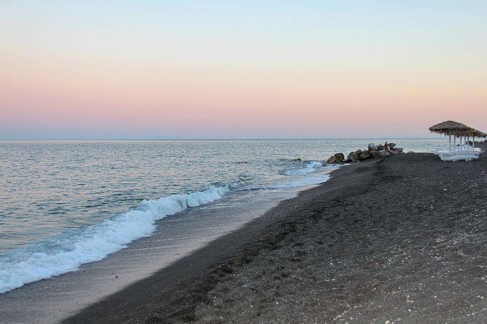 The black beach in Santorini
