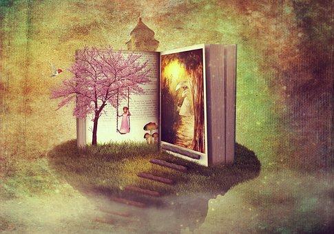ファンタジー, 本, パス, 童話, 子, 女性, 木, 騎士の城, 岩