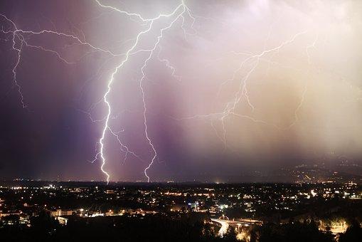Lightning, Night, Dark, Sky, Storm