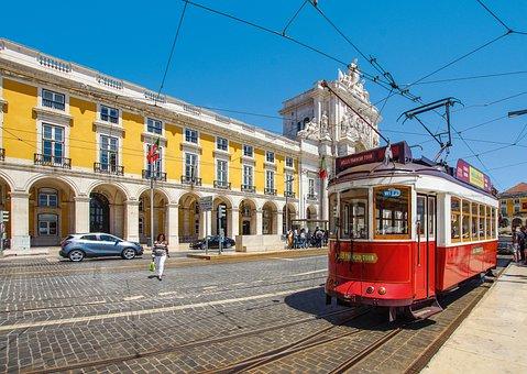 Lisbon, Portugal, Red, Tram