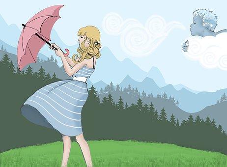Wind, Girl, Umbrella, Summer, Mountain
