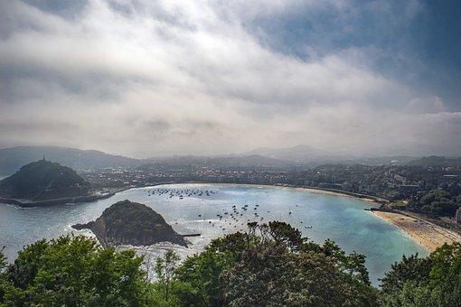 ビーチ, 市, 空, パノラマ, サン ・ セバスティアン, 雲