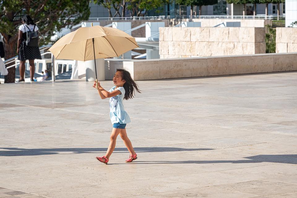 Sun, Sombrilla, Turismo, Niño, Verano, De Viaje