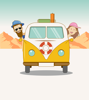 Road Trip, Van, Couple, Travel, Cartoon
