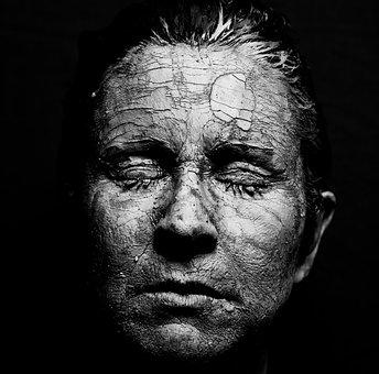 Woman, Face, Dry, Cracks
