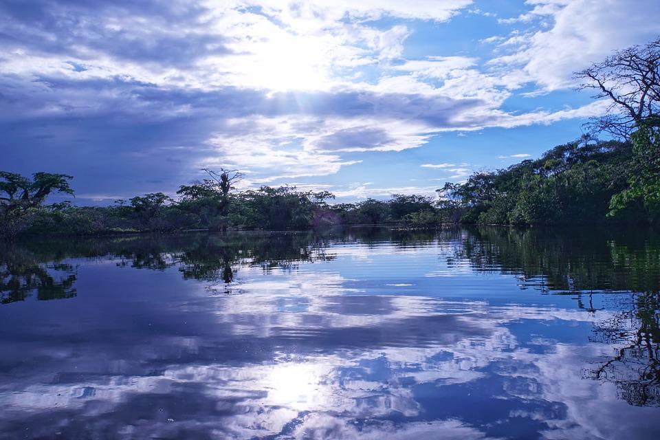 La Amazonía, Ecuador, Puesta De Sol, Azul, Selva