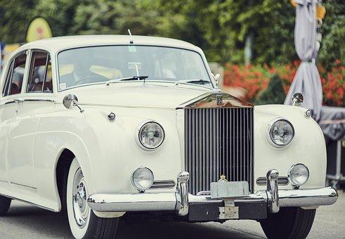 ロールス ・ ロイス, 白い, アンティークカー, 自動車, リムジン, レトロ