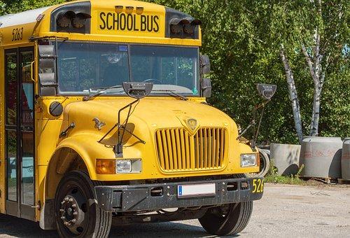 Bus, Schulbus, Gelb, Schulbeginn