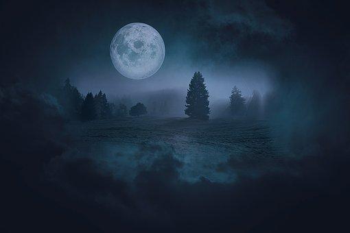 風景, ファンタジー, ファンタジー風景, 泊, 月, 満月, 暗い, ゴシック