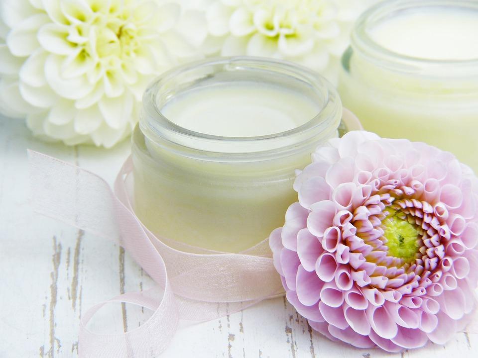 Cream, Skin Cream, Glass, Blossoms, Dahlia, Pink